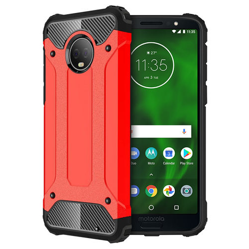 Military Defender Shockproof Case for Motorola Moto G6 Plus - Red